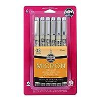 مجموعة اقلام 50033 بيجما ميكرون 003 من ساكورا، 6 قطع مع طرف دقيق باللون الاسود، 6CT Micron 03 50037