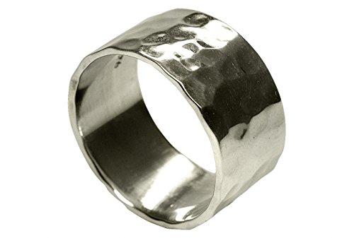 SILBERMOOS Ring Damen Herren Partner-Ring Bandring glänzend gehämmert breit Sterling Silber 925