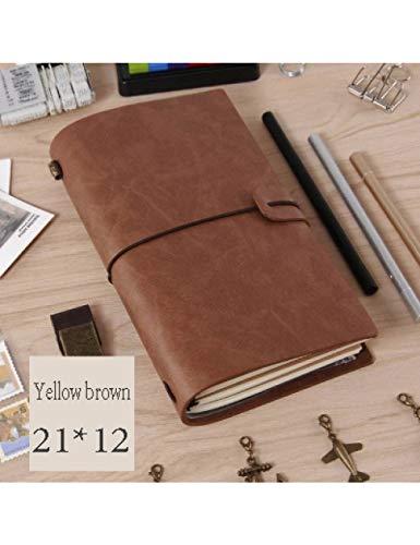 ZXSH Notizbuch Notizpapier Vintage Spiralbindung Notizpapier A5 Tagebuch Notizbücher Sketchbook Agenda Schul- & Bürobedarf, Gelbbraun -