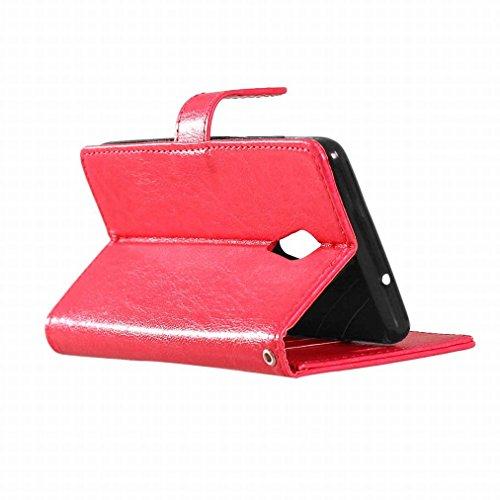 Custodia Lenovo ZUK Z2 Pro Cover Case, Ougger Portafoglio PU Pelle Magnetico Stand Morbido Silicone Flip Bumper Protettivo Gomma Shell Borsa Custodie con Slot per Schede Colore Rosa Rosso