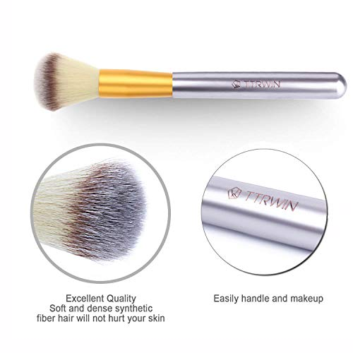 Make up Brushes,TTRwin 18 Pcs Professional Makeup Brush Set Synthetic Kabuki Face Blush Lip Eyeshadow Eyeliner Foundation Powder Cosmetic Brushes Kit with PU Leather Bag White