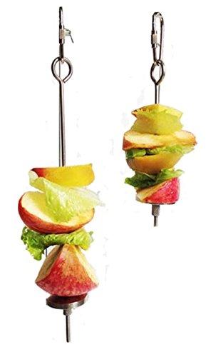 (Qin 12,2cm Edelstahl Kleine Parrot Spielzeug Fleisch Kabob Lebensmittel Halterung Stick Fruit Kleines Tier-Spiess Behandlung Tool strapazierfähiges Bird 's Käfig Zubehör)