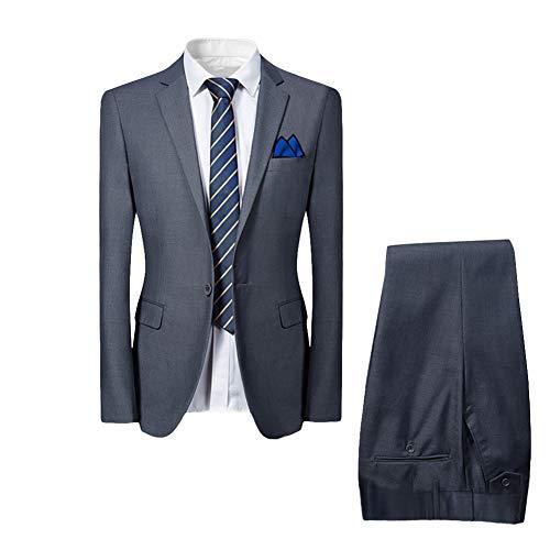 Allthemen Slim Fit 2-Teilig Herren Anzug für Hochzeit Party Grau S