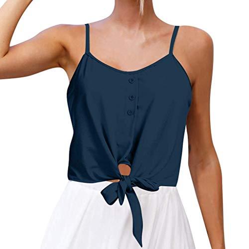 Go First Frauen Casual V-Ausschnitt Button Seft Tie vorne Crop Cami Tops Leibchen (Color : Marine, Size : Medium) -