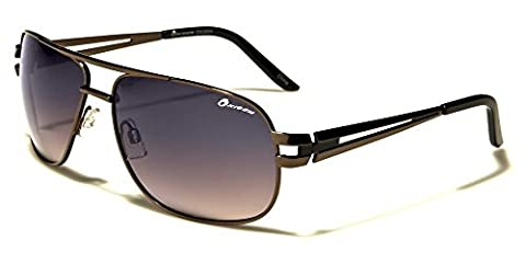 Oxigen men's aviator rectangle metal sunglasses Perfect for Sports or driving Full UV400 Protection Free VIBRANT HUT pouch included ( COPPER/BLACK/BROWN LENSES)