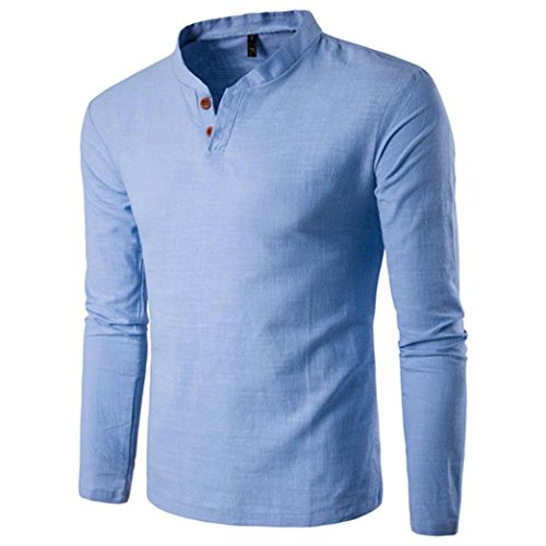 Camicia da uomo , feixiang® t-shirt shirts camicia camicie polo camicetta cappotto giacca maglione felpe hoodie pullover uomo manica lunga felpa a maniche solid top tee lino (blu, xxl)