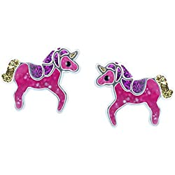 SL-Silver Pendientes Pendientes Pinkes Unicornio Purpurina Brillo 925Plata en Caja de Regalo