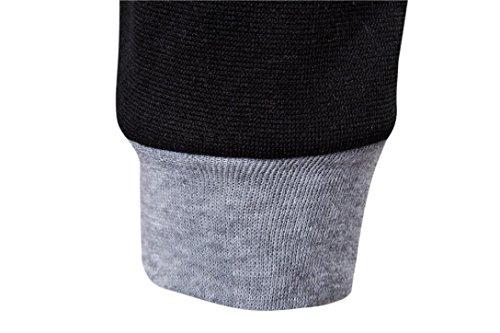 Herren Bluse,feiXIANG Herren Baumwolle Langarm Hooded Casual Shirt Tops (L, Rot) Schwarz