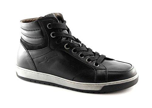 BLACK JARDINS 4370 homme noir zip chaussures baskets milieu sportif de la peau Nero