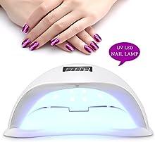 Roleadro 48W Led Lampara de Uñas Secador para Led UV Uñas Gels para Manicura Gel Esmalte Permanente con Minutero 10s 30s 60s 99s