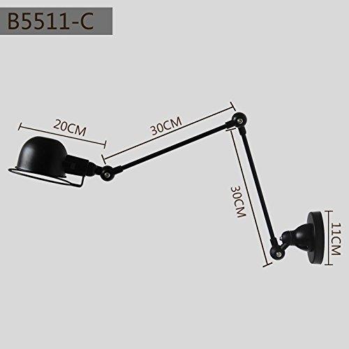 BOOTU LED Wandleuchte nach oben und unten Wandleuchten Ausziehbare Kipphebel Wandleuchte Schlafzimmer Nachttischlampe restaurant Industrie-Falzmaschine Doppel Abschnitt Schwenkarm Wandleuchten C