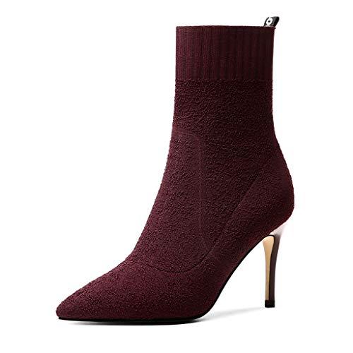 ChixiaO Stretch Socken Stiefel Damen High Heel Stricken Socken Stiefel Skinny Stiefel Stiletto In der Tube Kurze Stiefel Spitzen Herbst und Winter Nackte Stiefel Rotwein (Farbe : Red, größe : 37)
