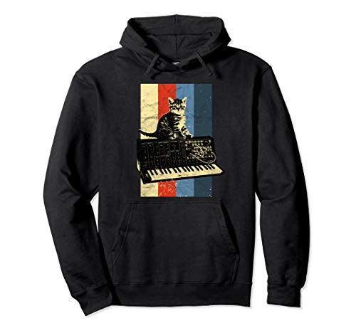 Vintage Analog Synthesizer & Cat Synth Retro Studio Gear Pullover Hoodie