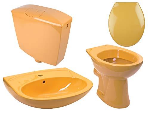 Calmwaters - Komplettset in Curry-Gelb aus Stand-WC, WC-Sitz, Spülkasten und 60 cm breitem Waschbecken - 99000195 (Waschbecken Gelb)