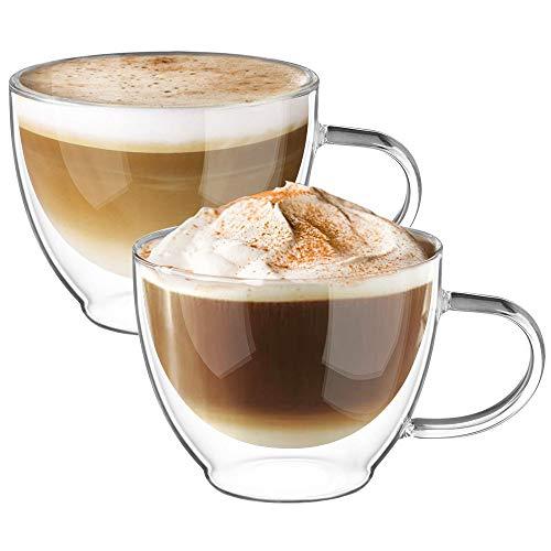 Cappuccino Tassen Glaser Latte Macchiato Glaser Set Thermoglas Trinkgläser Kaffeeglas 2-teiliges 350ml (Volle Kapazität) ()
