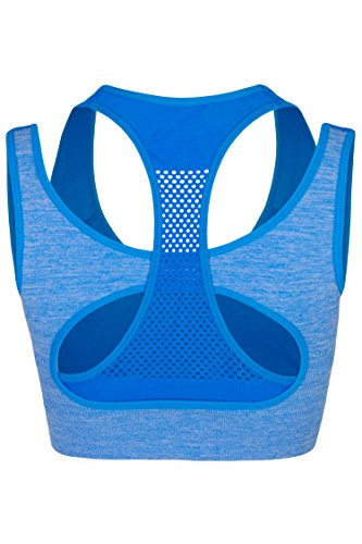 Palleon Damen Sport BH Bustier Stretch ohne Bügel Blau