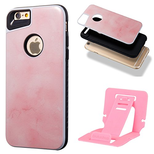 iphone 8 4.7 Custodia, iphone 7 Silicone Cover, Ekakashop Moda Lusso Marmo Modello Disegno PC & TPU 2-in-1 Epoxy Mestieri Morbido Rigida Cassa del telefono per iphone 8 3D Gel Silicone Gomma Cover, P 2-in-1--Rosa tenero