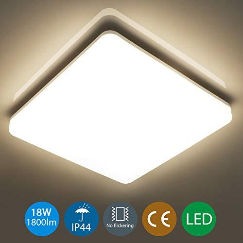 Oeegoo 18W Plafon LED de techo Superficie Cuadrado Impermeable IP44 1800LM, Moderna LED Luz de techo para Baño Dormitorio Cocina Sala de estar Comedor Balcón Pasillo Salon Blanco Natural 4000-4500K