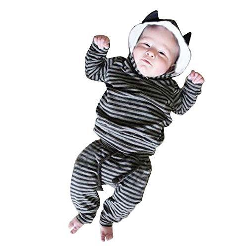 Quaan Neugeborenes Baby Säugling Jungen Mädchen Gestreift Ohr Mit Kapuze Oberteile zur Seite Fahren Hose Kürbis Halloween warm gemütlich Baumwolle niedlich Charakter Mantel Sweatshirt