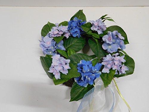 Blumenkranz Blütenkranz Hortensie Türkranz Kranz Seidenblumen blau 184547 F59