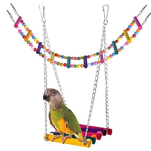 Tomkity Kit Giocattolo in Legno per Pappagallo Altalena per Pappagalli + Scala Colorato per Parrocchetti in Legno Uccelli