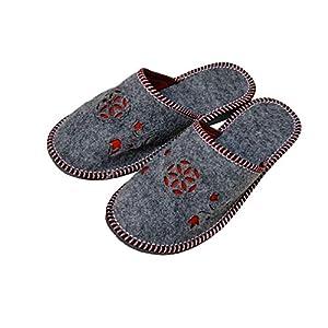 Grauer Filz Melange rote Blumen Blumenmuster Frauen Pantoffeln Pantoletten Größen 36-42