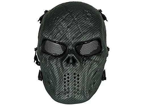 Softair Taktische Maske mit Mesh-Augen Vollgesicht Totenkopf Maske Militär Schutz Paintball Halloween Kostüm (Karbonfaser) HTUK®