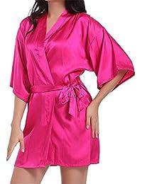 Vestido Pijama Mujer Kimono Corto Bata de Satén Lencería Kimono Satén Bata Albornoz Camisón