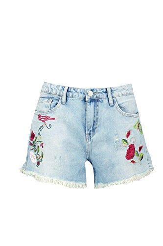 Mittelblau Damen Rosie Shorts Aus Denim Mit Blumenstickerei Mittelblau