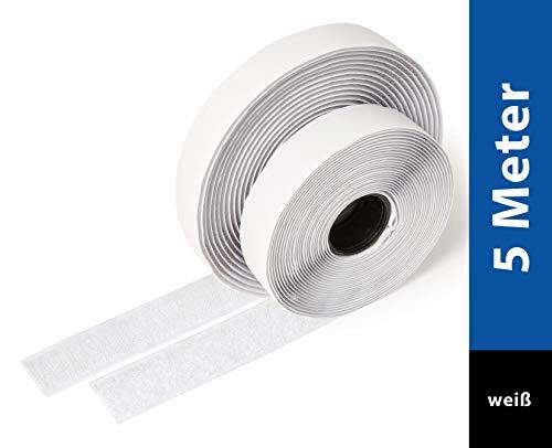 iLP Klettband weiß selbstklebend - 5 Meter lang ca. 20 mm breit - sichere Fixierung Befestigung extra stark für Do it Yourself Basteln Heimwerken - je 1 Rolle Flausch- und Hakenband