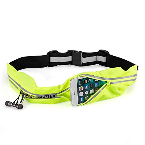Cintura da corsa per uomo e donna, agptek marsupio running impermeabile con doppia tasca e cinghie riflettenti per smartphone fino a 7 pollici, verde