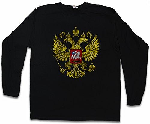 Russian Eagle Vintage Logo Langarm Long Sleeve T-Shirt Soviet Union CCCP Adler Russia Rußland UDSSR Größen S – 2XL (Adler-logo-shirt)