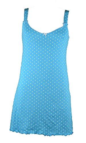 Damen Nachthemd,Kurzarm,100% BAUMWOLLE Blau