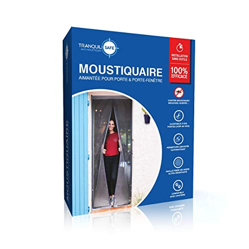 Moustiquaire ajustable aimantée TRANQUILISAFE® pour portes et portes fenêtres – moustiquaire magnétique – moustiquaire porte automatique – moustiquaire compatible chatière (L 80/96 - H 207/