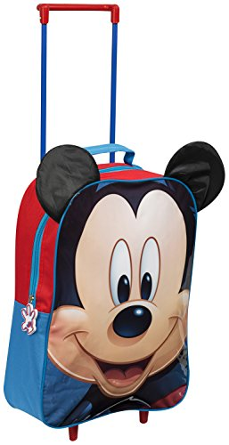 Image of Kids Trolley Cabin Bag Suitcase with Wheels and Telescopic Handle - Ideal for short breaks, holidays, sleepovers and school trips (Mickey Mouse)