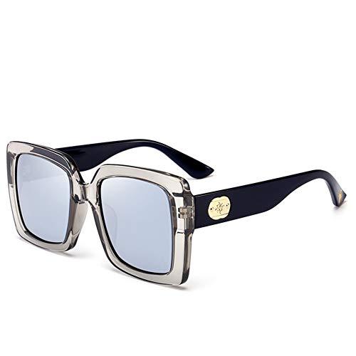 BFQCBFSG Herren Sonnenbrille Hochwertig Fahren Fahren Retro Big Frame Spiegel Classic Tr Sonnenbrille Urlaub Spielen Gestreifte Brille, Silber