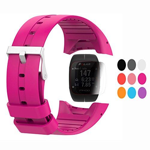 TUSITA Strap + Screen Protector für Polar M400 / M430, Ersatz-Silikon Armband WristBand Zubehör für Polar GPS-Uhr (HOT PINK)