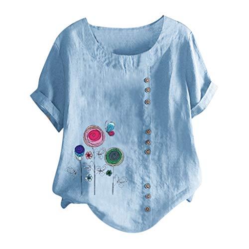 MOTOCO Damen Übergröße Kurzarm T-Shirt Top Lässig O Ausschnitt Mit Knopf Mode Tier Druck Lose Tees (3XL,Blau-6)