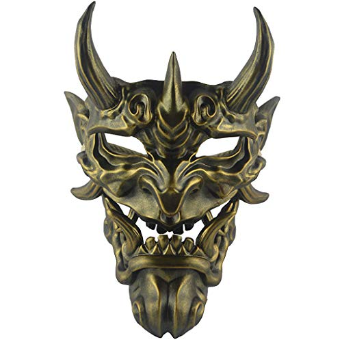 rote Hannya Maske Halloween Horror Teufel Cosplay Maske Buddhismus Prajna Ghost traditionelles Thema Party Harz Maske Kunsthandwerk Handwerk hängende Verzierung,Copper-OneSize ()