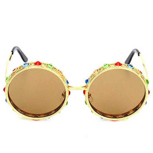 Wkaijc Tide Rund Edelsteine Sonnenbrillen Mode Persönlichkeit Bequem Dame Sonnenbrillen