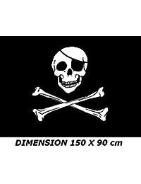 *** PROMOTION *** Drapeau Pirate (os) - 150 X 90 cm (Uniquement chez le vendeur PLANETE SUPPORTER = 100% conforme à l'image)