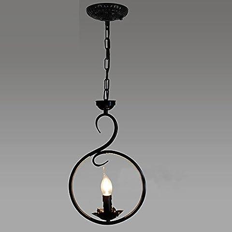 Retro Einfach Stil Kronleuchter Single Kerze Pendelleuchte Bar Esszimmer Schwarz