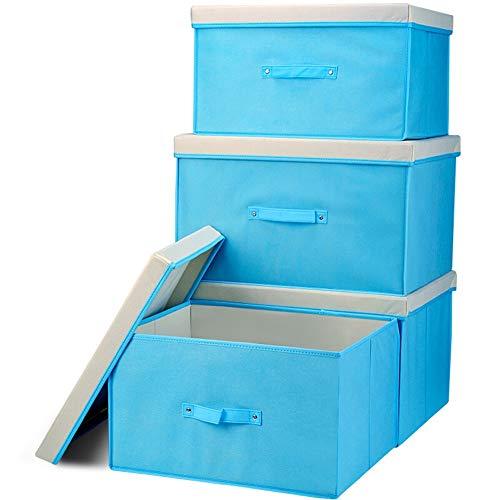 JINRONG Aufbewahrungsbox Kisten Mit Deckel Stapelboxen Premium Stoffbox Schubladen Organizer Falt Box-Dot Einfaches Vlies Falten Große Kapazität (Farbe : Blau, größe : 30 * 40 * 50cm)