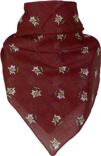 Bandana mit Edelweiss in 15 Farben aus Baumwolle, Farben:bordeaux, Größen:Einheitsgröße
