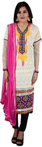 Raj Nandini Suits & Sarees Women's Chanderi Silk Semi Stitched Salwar Suit Set(RajNandini11 _ P