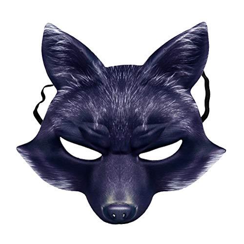 Amosfun Fuchs Maske Halbes Gesicht Tier Maske Fuchs Cosplay Maske Halloween Cosplay Kostüm Zubehör für Halloween Karneval Maskerade Party - Fuchs Und Freunde Kostüm