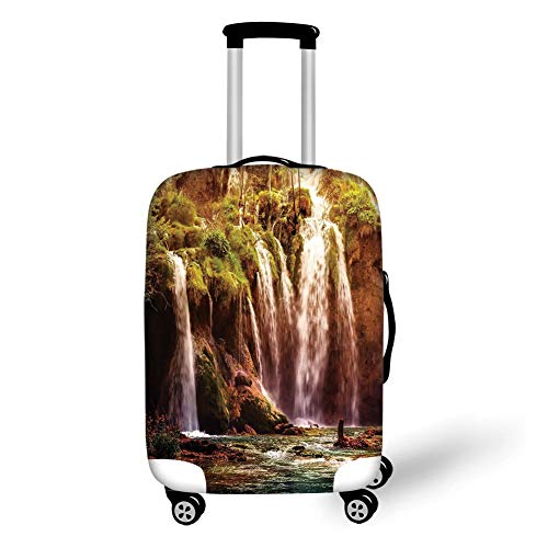 Moss Green Dot (Travel Luggage Cover Suitcase Protector,Nature Decor,Waterfall Forest Tree Moss Lake Stones Rocks Wonder of The World Image,Green and Brown,for TravelXL 29.9x39.7Inch)