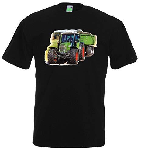Kinder T-Shirt | Bildmotiv, Traktor mit Anhänger | Schwarz | Größe 152