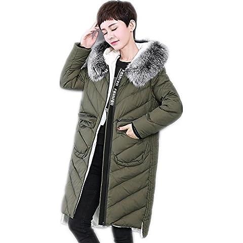 ZYQYJGF Invierno Por La Chaqueta De Cuello De Las Mujeres Puffer Coats Espesado Ligero Irregular Outwear Encapuchada De La Piel Floja Del Color Sólido . 3 . S