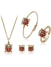 Xuping Or 18K Colour-plated Happy Coccinelle Ladybug Définit Boucles d'oreille à tige Collier Bague Bracelet Enfant Bijoux